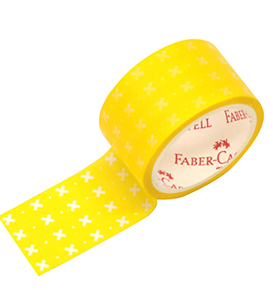 Decorative Paper Tape White Star in yellow
