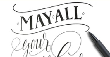 "Lettering ""May all your wishes come true"""