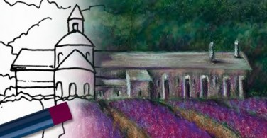 Menggambar ladang Lavender dengan Oil Pastels