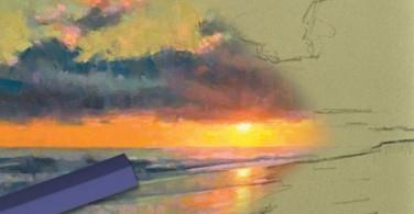 Menggambar Langit Jingga di Pantai dengan Soft Pastel