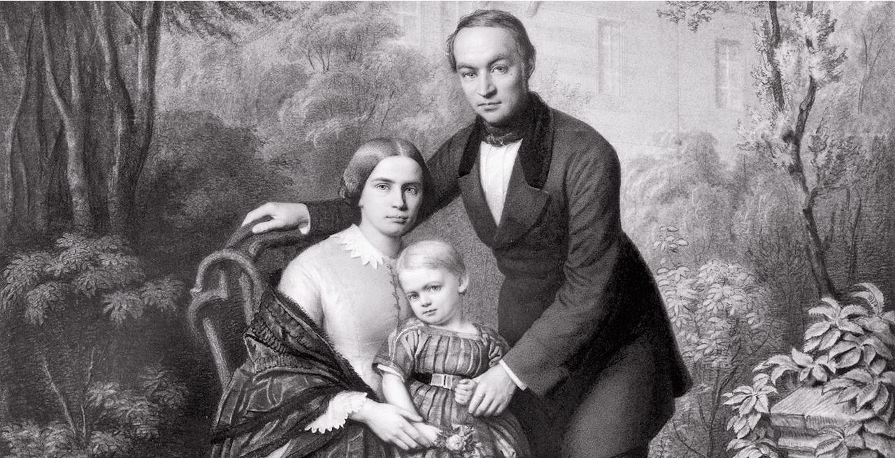 Lothar von Faber bersama istrinya Ottilie dan putranya Wilhelm