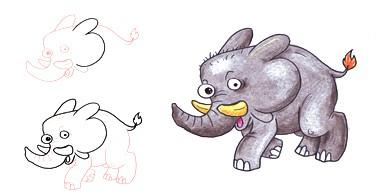 Menggambar binatang dari bentuk dasar angka
