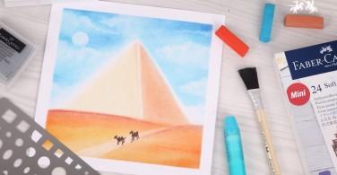 Cara Menggambar Piramid dengan Soft Pastel Art